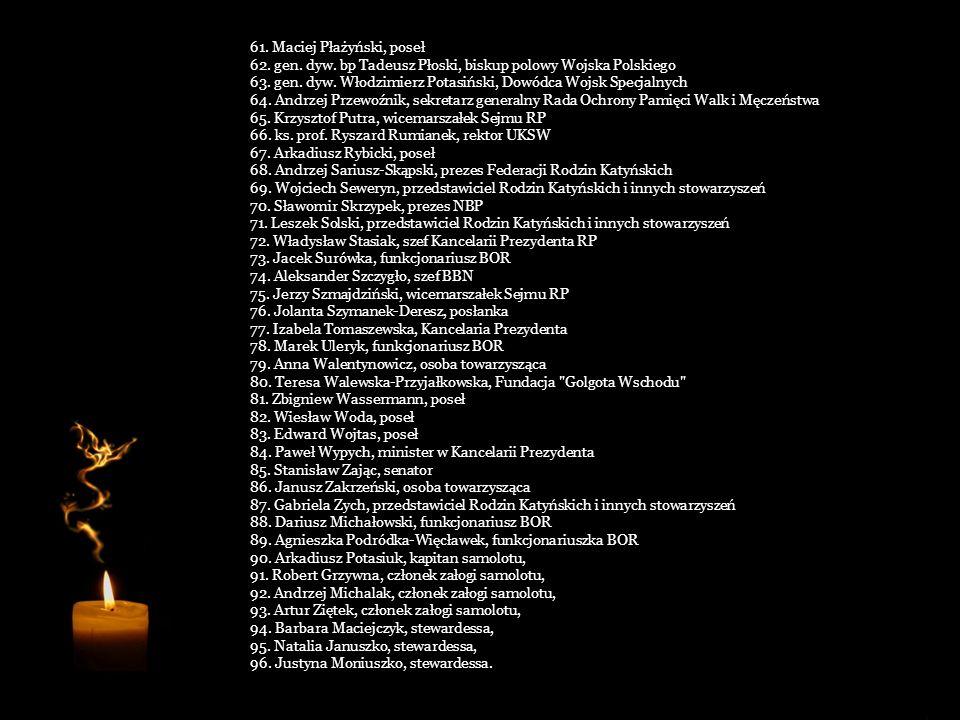 31. Izabela Jaruga-Nowacka, posłanka 32. o. Józef Joniec, prezes Stowarzyszenia Parafiada 33. Sebastian Karpiniuk, poseł 34. wiceadm. Andrzej Karweta,