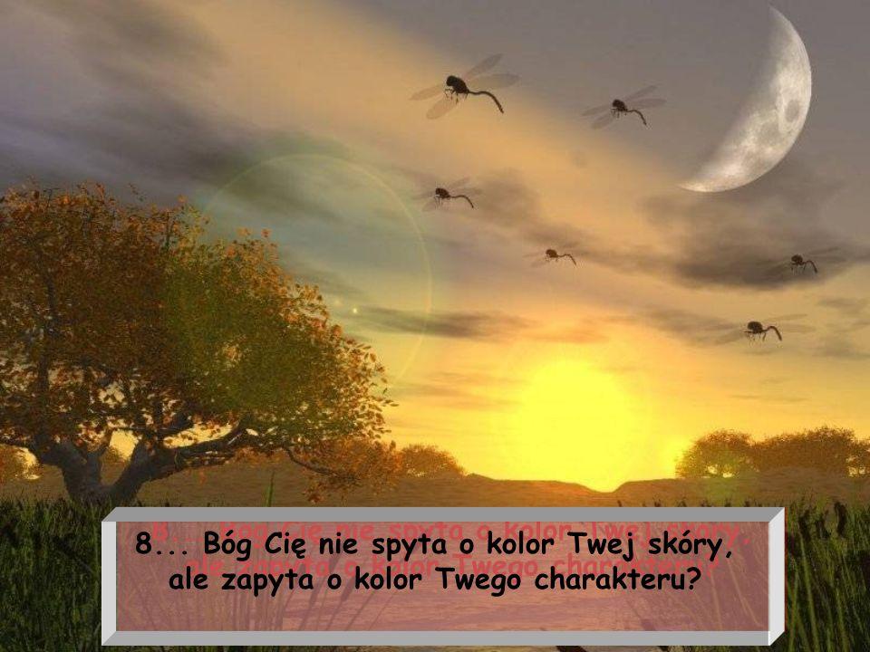 8... Bóg Cię nie spyta o kolor Twej skóry, ale zapyta o kolor Twego charakteru?