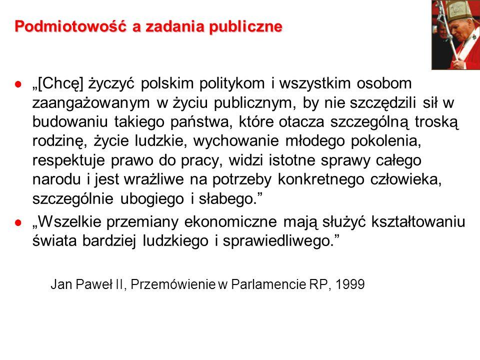 Podmiotowość a zadania publiczne [Chcę] życzyć polskim politykom i wszystkim osobom zaangażowanym w życiu publicznym, by nie szczędzili sił w budowani