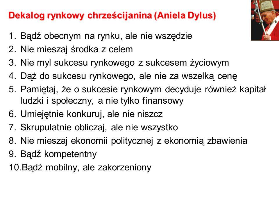 Dekalog rynkowy chrześcijanina (Aniela Dylus) 1.Bądź obecnym na rynku, ale nie wszędzie 2.Nie mieszaj środka z celem 3.Nie myl sukcesu rynkowego z suk