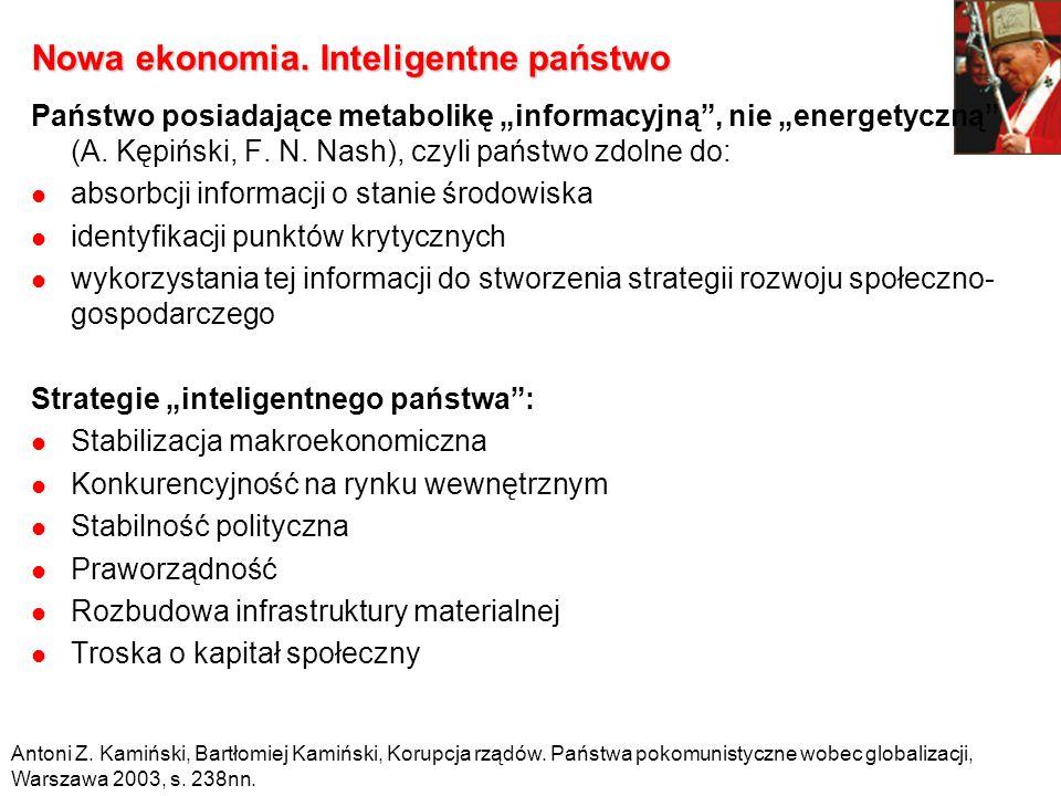 Nowa ekonomia. Inteligentne państwo Państwo posiadające metabolikę informacyjną, nie energetyczną (A. Kępiński, F. N. Nash), czyli państwo zdolne do: