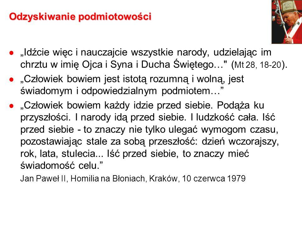 Podmiotowość: wolność i sumienie …dziesiąta rocznica wydarzeń [roku 1989] winna stać się okazją dla wszystkich Polaków do refleksji nad darem wolności «danej» i jednocześnie «zadanej», wolności wymagającej nieustannego wysiłku w jej umacnianiu i odpowiedzialnym przeżywaniu.