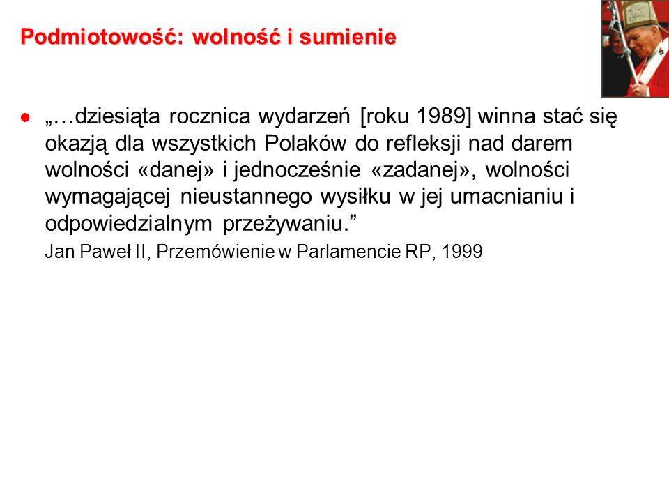 Podmiotowość: wolność i sumienie …dziesiąta rocznica wydarzeń [roku 1989] winna stać się okazją dla wszystkich Polaków do refleksji nad darem wolności
