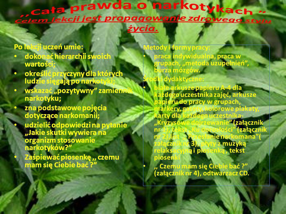 Po lekcji uczeń umie: dokonać hierarchii swoich wartości; określić przyczyny dla których ludzie sięgają po narkotyki; wskazać pozytywny zamiennik nark