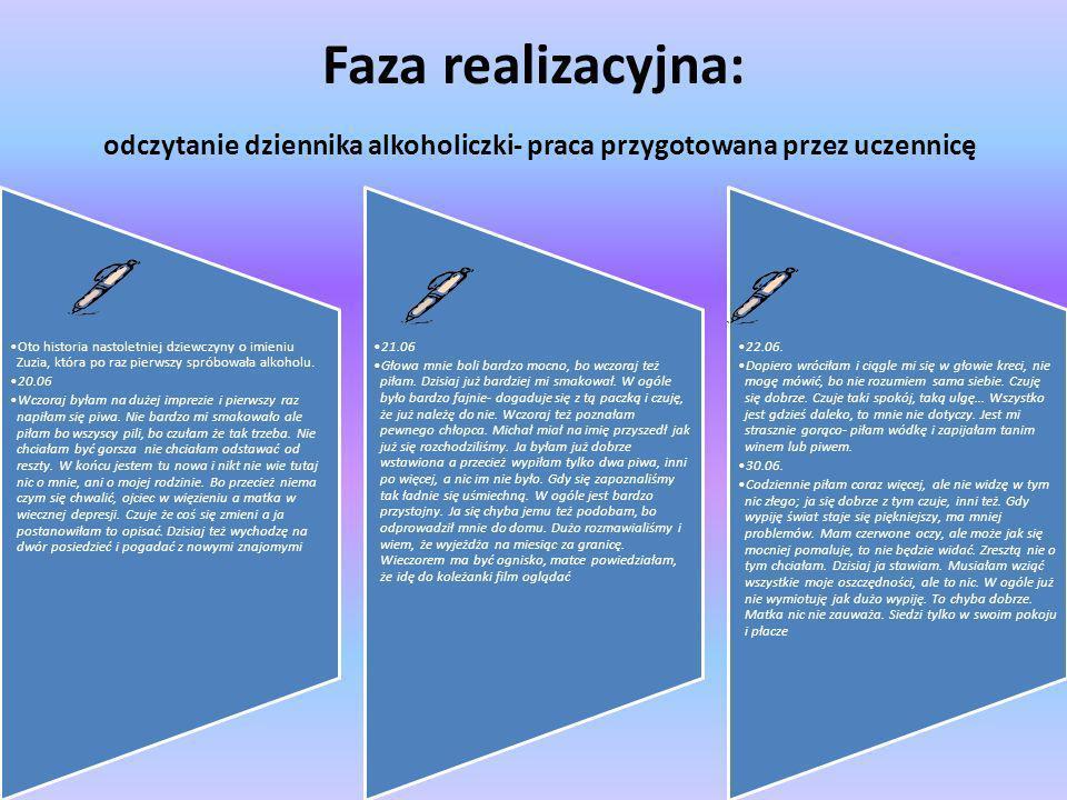 Faza realizacyjna: odczytanie dziennika alkoholiczki- praca przygotowana przez uczennicę Oto historia nastoletniej dziewczyny o imieniu Zuzia, która p
