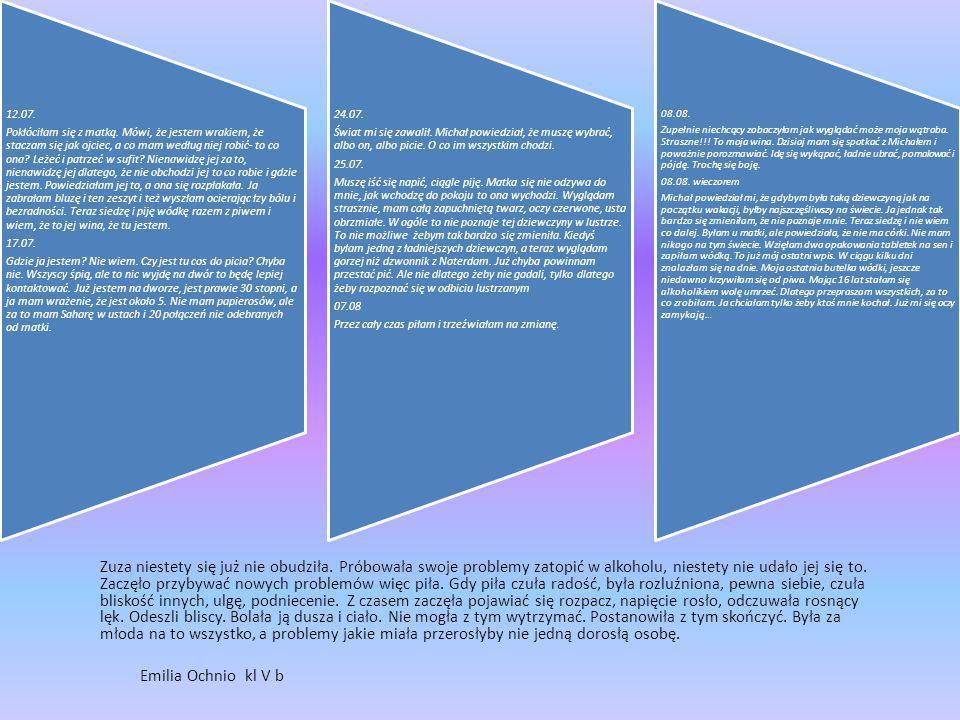 Faza wstępna: czynności organizacyjne sformułowanie tematu lekcji zapisanie tematu na tablicy omówienie celu lekcji Faza realizacyjna: odczytanie dziennika alkoholiczki- praca przygotowana przez uczennicę wprowadzenie do dyskusji ukierunkowane pytaniami uczniów analiza wypowiedzi- zwrócenie uwagi na przyczyny tkwiące w domu, szkole, środowisku rówieśniczym ułożenie puzzli z hasłem: Lubisz ból i cierpienie alkohol spełni TWOJE marzenie rozmowa o wpływie alkoholu na organizm człowieka uzupełnienie plakatu dotyczącego faz niszczącego działania alkoholu na organizm człowieka porównanie zdrowej i marskiej wątroby dyskusja o wpływie alkoholu na zachowanie człowieka dyskusja o wpływie alkoholu na wygląd zewnętrzny człowieka dzieci otrzymują farby do twarzy i malują się w parach- temat: jak wyobrażasz sobie człowieka uzależnionego od alkoholu sfotografowanie wyobrażeń dzieci o zachowaniu podczas upojenia alkoholowego Faza podsumowująca: próba odpowiedzi na pytanie czego dowiedziałem się na dzisiejszej lekcji ogłoszenie konkursu na najlepszy plakat podsumowujący lekcję ustalenie terminu rozstrzygnięcia konkursu ocena aktywności uczniów