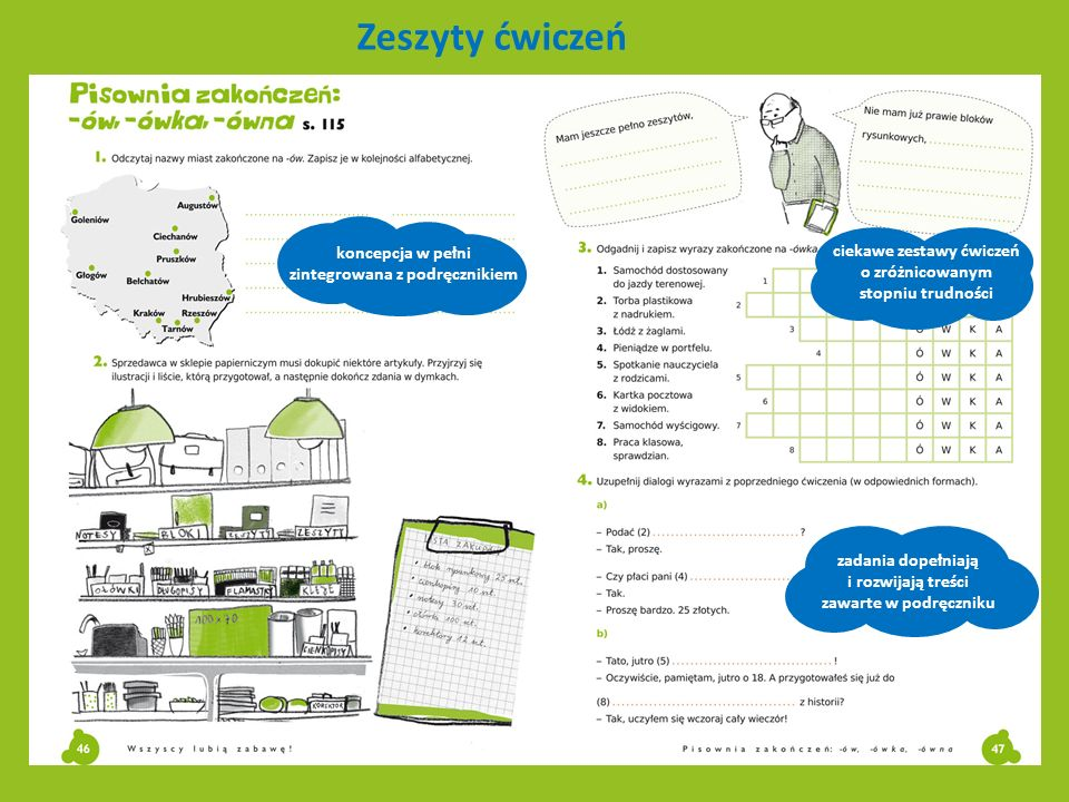 Zeszyty ćwiczeń koncepcja w pełni zintegrowana z podręcznikiem zadania dopełniają i rozwijają treści zawarte w podręczniku ciekawe zestawy ćwiczeń o z