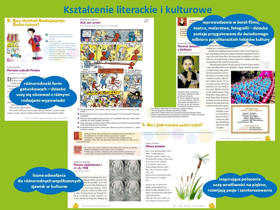 Analiza i interpretacja specjalne ramki wprowadzają ważne pojęcia i terminy pytania i polecenia pomagają w odkrywaniu znaczeń dosłownych i ukrytych w tekście odpowiednio dobrane utwory literackie kształtują wrażliwość dziecka i jego świat wartości ciekawe zadania twórcze dodatkowo rozszerzają temat, rozwijając wyobraźnię dziecka oraz jego umiejętności