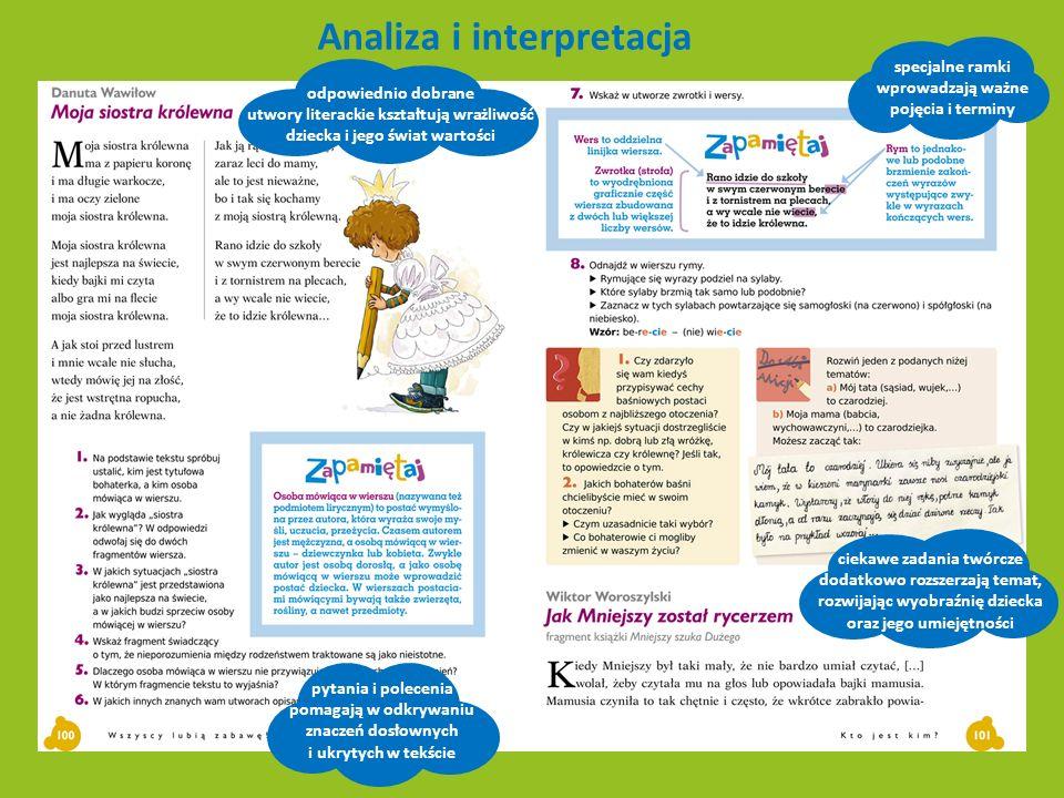 Gramatyka propozycje gier pozwalających przećwiczyć i utrwalić wiedzę w formie zabawy specjalne ramki wizualizują wiedzę teoretyczną i ułatwiają szybkie odszukiwanie potrzebnych informacji zadania zintegrowane tematycznie z literacko-kulturowym kontekstem całego rozdziału atrakcyjne ćwiczenia odwołują się do doświadczeń dziecka i autentycznych sytuacji życiowych