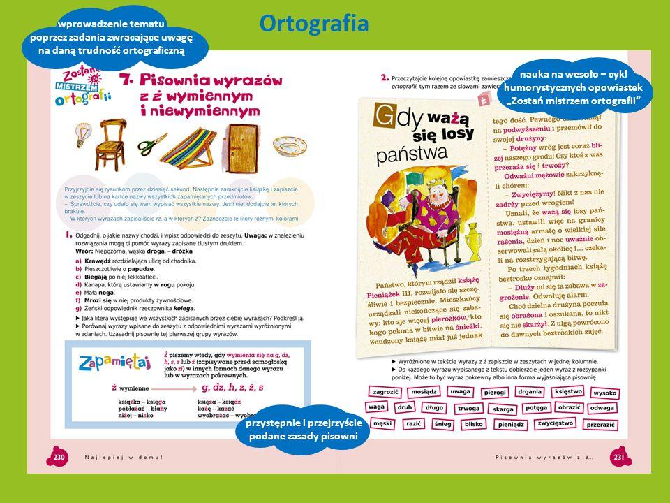 Ortografia wprowadzenie tematu poprzez zadania zwracające uwagę na daną trudność ortograficzną przystępnie i przejrzyście podane zasady pisowni nauka
