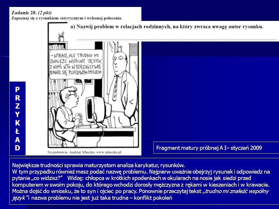 Największe trudności sprawia maturzystom analiza karykatur, rysunków. W tym przypadku również masz podać nazwę problemu. Najpierw uważnie obejrzyj rys