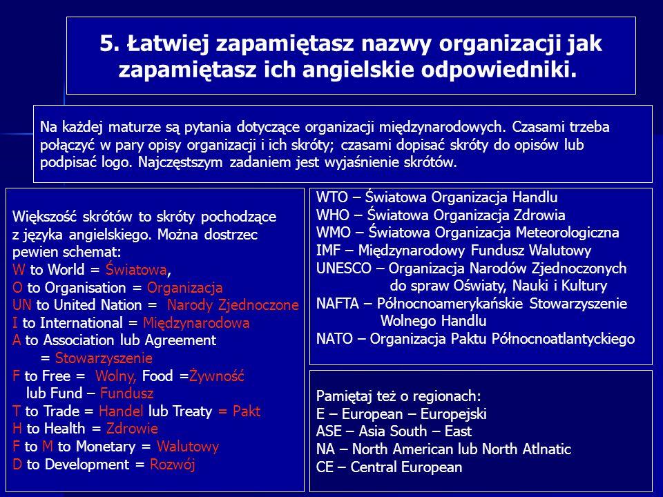 5. Łatwiej zapamiętasz nazwy organizacji jak zapamiętasz ich angielskie odpowiedniki. Na każdej maturze są pytania dotyczące organizacji międzynarodow