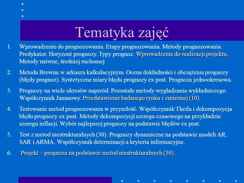 Tematyka zajęć Wprowadzenie do realizacji projektu 1.Wprowadzenie do prognozowania. Etapy prognozowania. Metody prognozowania. Predykator. Horyzont pr