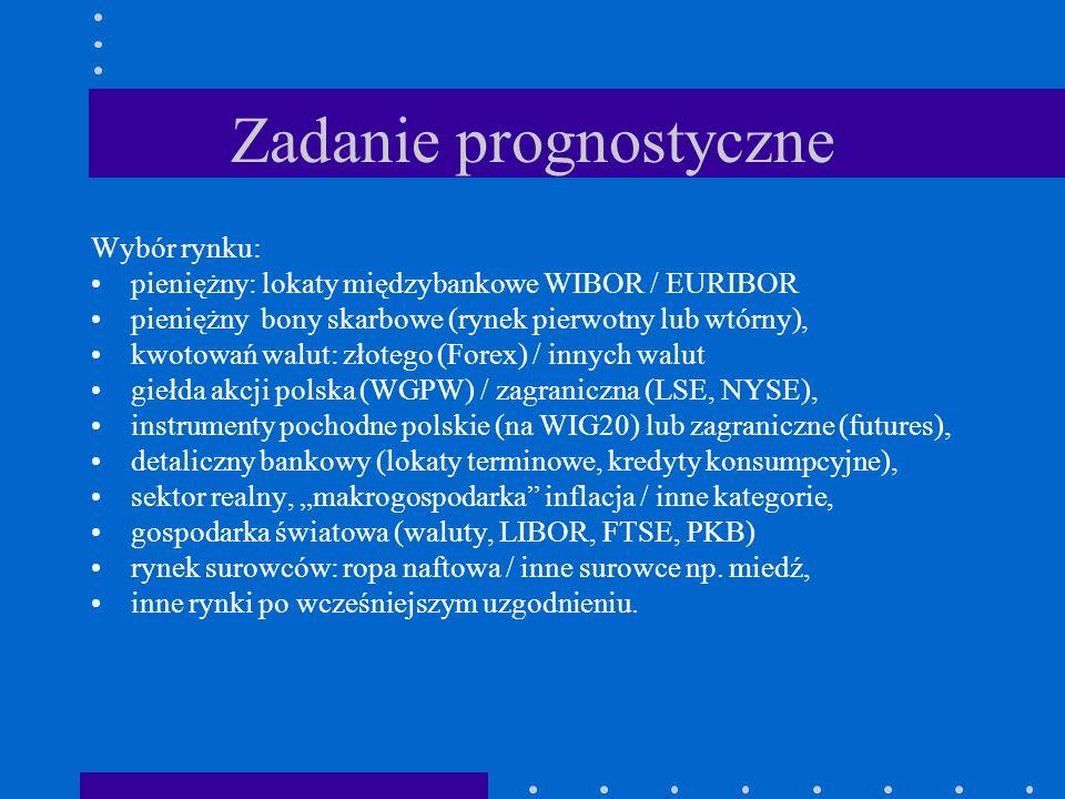 Zadanie prognostyczne Wybór rynku: pieniężny: lokaty międzybankowe WIBOR / EURIBOR pieniężny bony skarbowe (rynek pierwotny lub wtórny), kwotowań walu