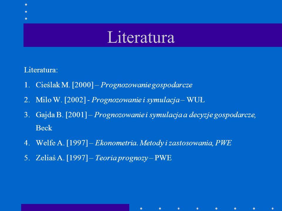 Literatura Literatura: 1.Cieślak M. [2000] – Prognozowanie gospodarcze 2.Milo W. [2002] - Prognozowanie i symulacja – WUŁ 3.Gajda B. [2001] – Prognozo