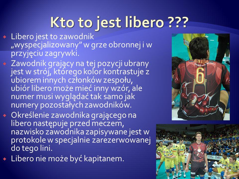 Libero jest to zawodnik wyspecjalizowany w grze obronnej i w przyjęciu zagrywki. Zawodnik grający na tej pozycji ubrany jest w strój, którego kolor ko