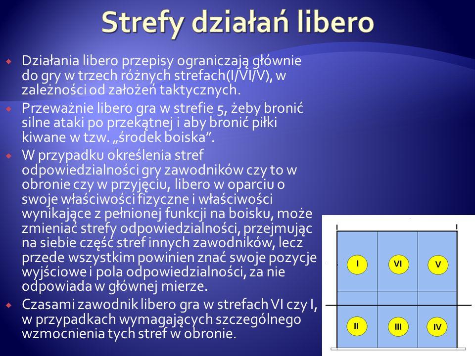 Działania libero przepisy ograniczają głównie do gry w trzech różnych strefach(I/VI/V), w zależności od założeń taktycznych. Przeważnie libero gra w s