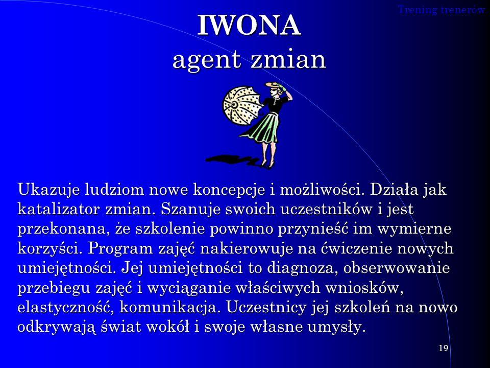 Trening trenerów 19 IWONA agent zmian Ukazuje ludziom nowe koncepcje i możliwości. Działa jak katalizator zmian. Szanuje swoich uczestników i jest prz
