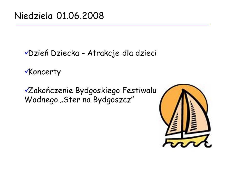 Niedziela 01.06.2008 Dzień Dziecka - Atrakcje dla dzieci Koncerty Zakończenie Bydgoskiego Festiwalu Wodnego Ster na Bydgoszcz