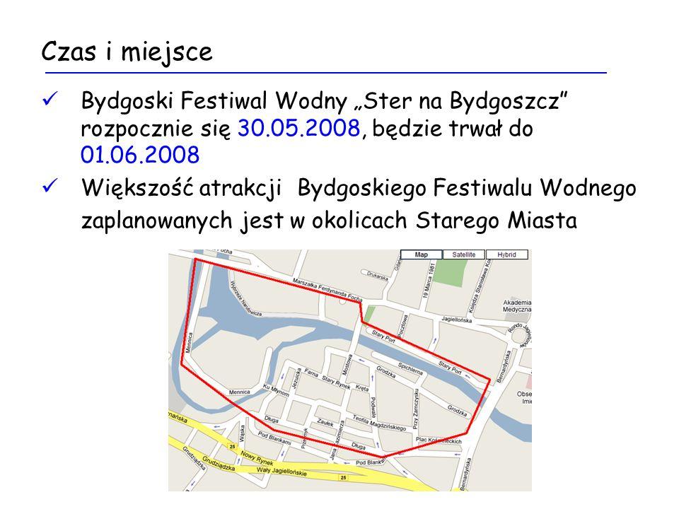 Czas i miejsce Bydgoski Festiwal Wodny Ster na Bydgoszcz rozpocznie się 30.05.2008, będzie trwał do 01.06.2008 Większość atrakcji Bydgoskiego Festiwalu Wodnego zaplanowanych jest w okolicach Starego Miasta