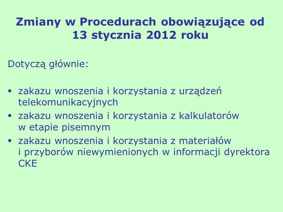 Zmiany w Procedurach obowiązujące od 13 stycznia 2012 roku Dotyczą głównie: zakazu wnoszenia i korzystania z urządzeń telekomunikacyjnych zakazu wnosz
