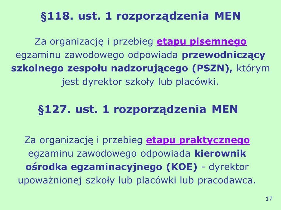 §118. ust. 1 rozporządzenia MEN Za organizację i przebieg etapu pisemnego egzaminu zawodowego odpowiada przewodniczący szkolnego zespołu nadzorującego