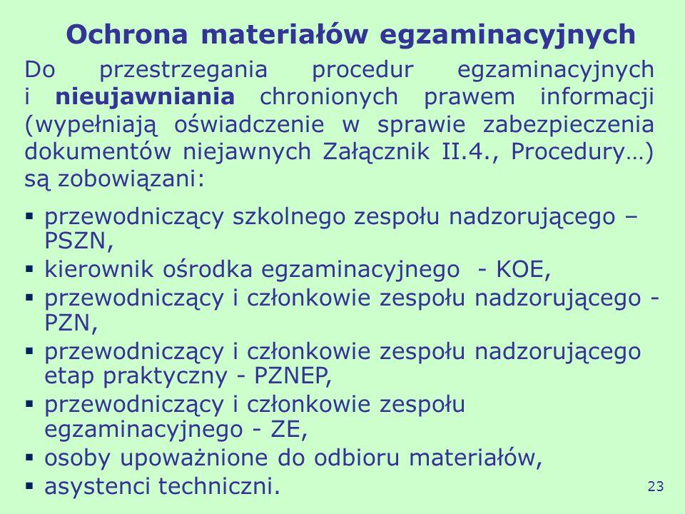 Ochrona materiałów egzaminacyjnych Do przestrzegania procedur egzaminacyjnych i nieujawniania chronionych prawem informacji (wypełniają oświadczenie w