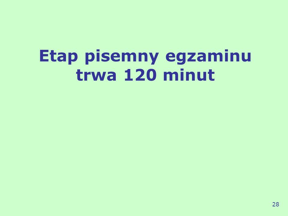 Etap pisemny egzaminu trwa 120 minut 28