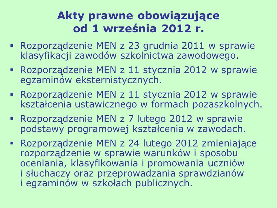 Akty prawne obowiązujące od 1 września 2012 r. Rozporządzenie MEN z 23 grudnia 2011 w sprawie klasyfikacji zawodów szkolnictwa zawodowego. Rozporządze