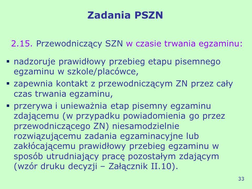 Zadania PSZN 2.15. Przewodniczący SZN w czasie trwania egzaminu: 33 nadzoruje prawidłowy przebieg etapu pisemnego egzaminu w szkole/placówce, zapewnia