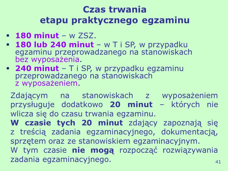 Czas trwania etapu praktycznego egzaminu 41 180 minut – w ZSZ. 180 lub 240 minut – w T i SP, w przypadku egzaminu przeprowadzanego na stanowiskach bez