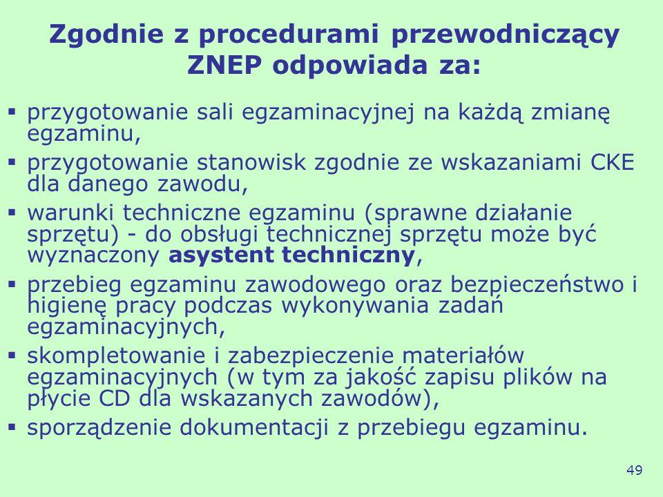 Zgodnie z procedurami przewodniczący ZNEP odpowiada za: przygotowanie sali egzaminacyjnej na każdą zmianę egzaminu, przygotowanie stanowisk zgodnie ze