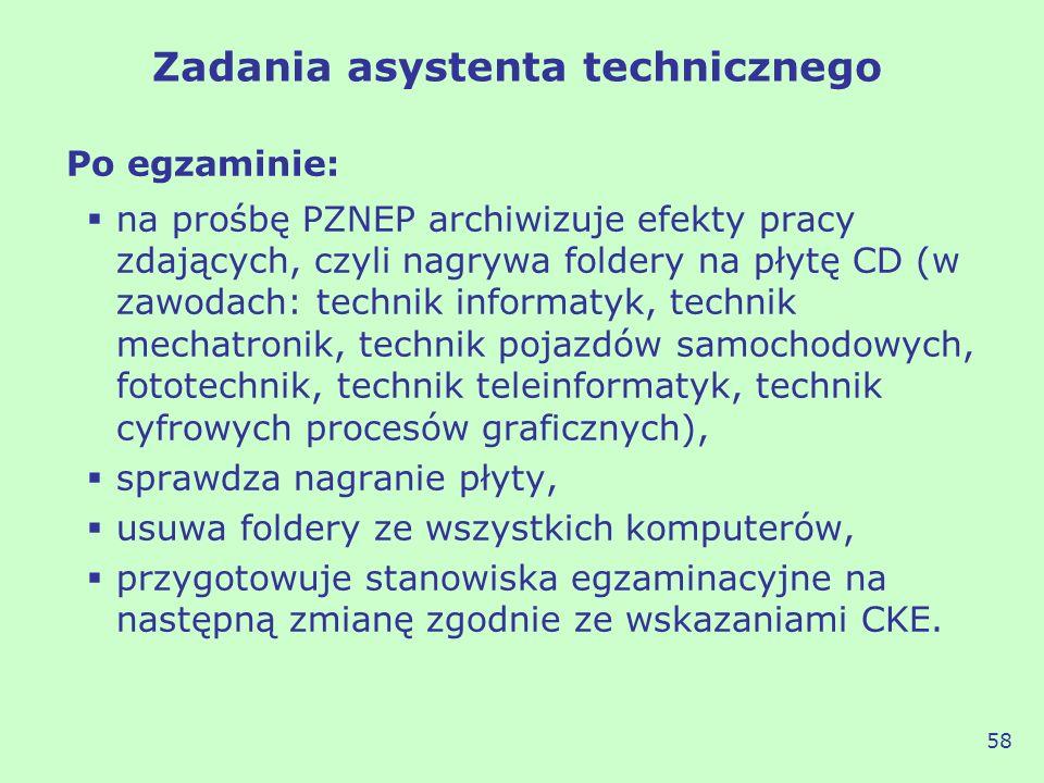 Po egzaminie: na prośbę PZNEP archiwizuje efekty pracy zdających, czyli nagrywa foldery na płytę CD (w zawodach: technik informatyk, technik mechatron