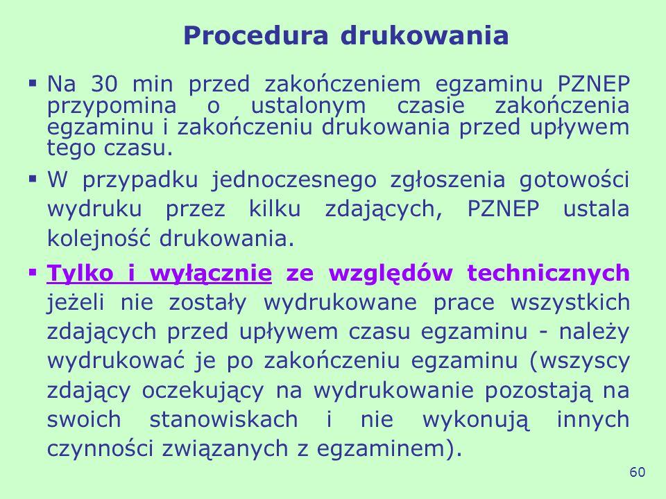 Procedura drukowania Na 30 min przed zakończeniem egzaminu PZNEP przypomina o ustalonym czasie zakończenia egzaminu i zakończeniu drukowania przed upł