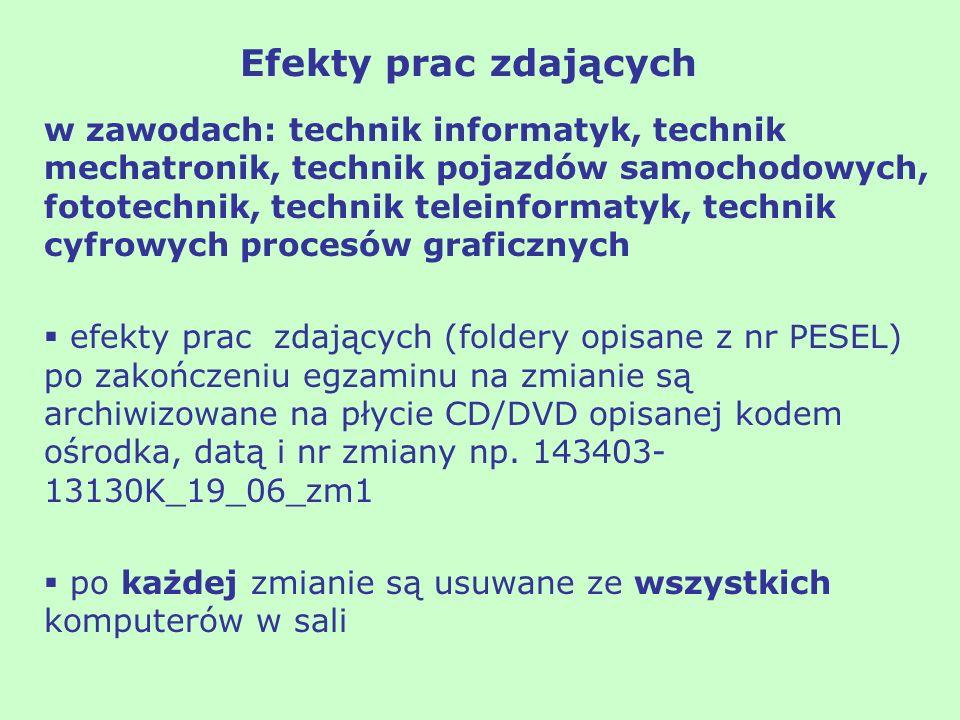 w zawodach: technik informatyk, technik mechatronik, technik pojazdów samochodowych, fototechnik, technik teleinformatyk, technik cyfrowych procesów g