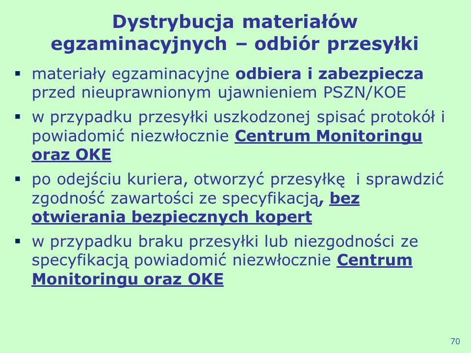 Dystrybucja materiałów egzaminacyjnych – odbiór przesyłki materiały egzaminacyjne odbiera i zabezpiecza przed nieuprawnionym ujawnieniem PSZN/KOE w pr