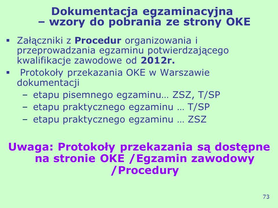 Dokumentacja egzaminacyjna – wzory do pobrania ze strony OKE Załączniki z Procedur organizowania i przeprowadzania egzaminu potwierdzającego kwalifika
