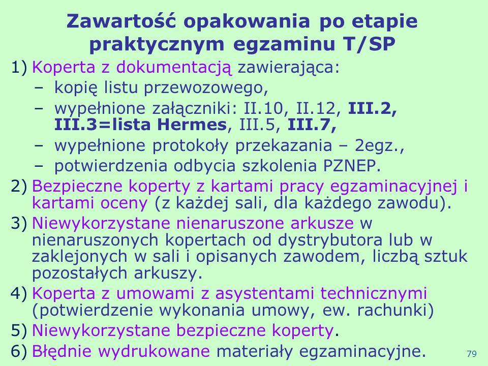 Zawartość opakowania po etapie praktycznym egzaminu T/SP 1)Koperta z dokumentacją zawierająca: –kopię listu przewozowego, –wypełnione załączniki: II.1