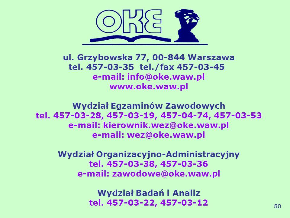 ul. Grzybowska 77, 00-844 Warszawa tel. 457-03-35 tel./fax 457-03-45 e-mail: info@oke.waw.pl www.oke.waw.pl Wydział Egzaminów Zawodowych tel. 457-03-2