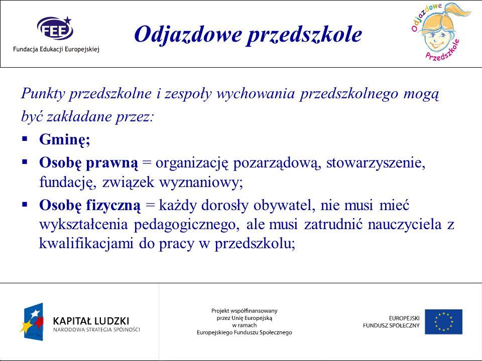 Rok przedszkolaka Punkty przedszkolne i zespoły wychowania przedszkolnego mogą być zakładane przez: Gminę; Osobę prawną = organizację pozarządową, sto