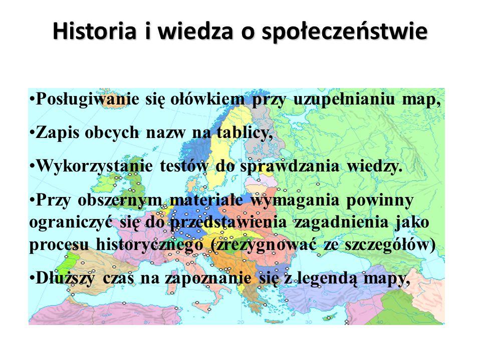 Historia i wiedza o społeczeństwie Mapa zawsze zawieszona na ścianie, Nauka nazw na zasadzie skojarzeń, Nie wymagać szczegółowych definicji, Nie wymag
