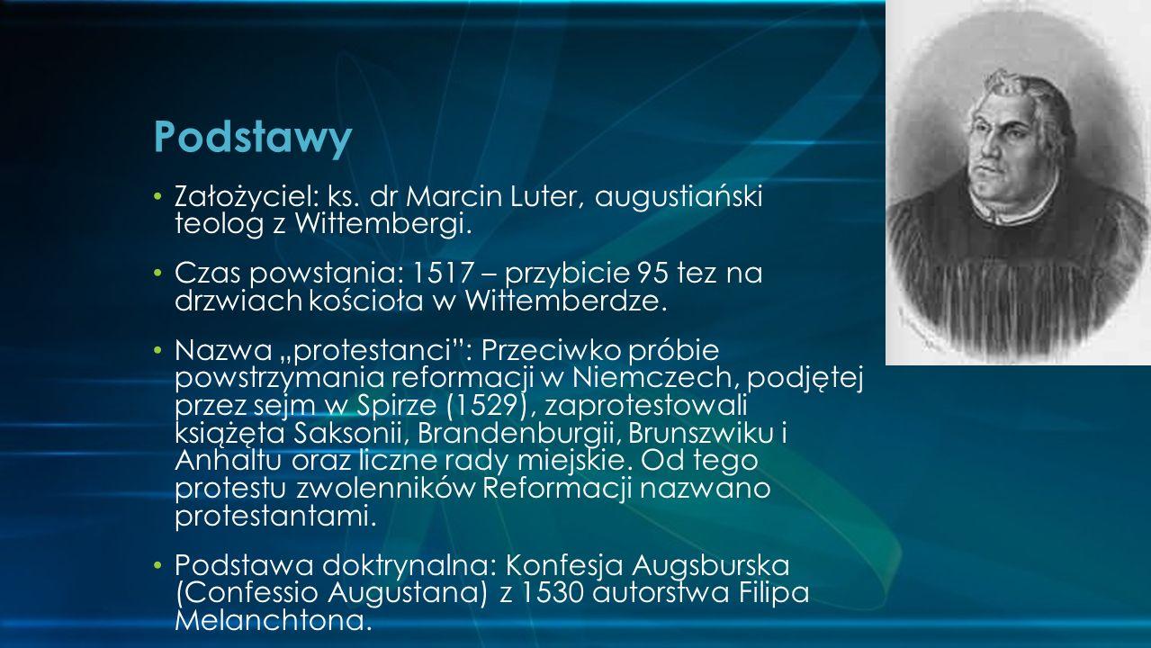 Założyciel: ks.dr Marcin Luter, augustiański teolog z Wittembergi.