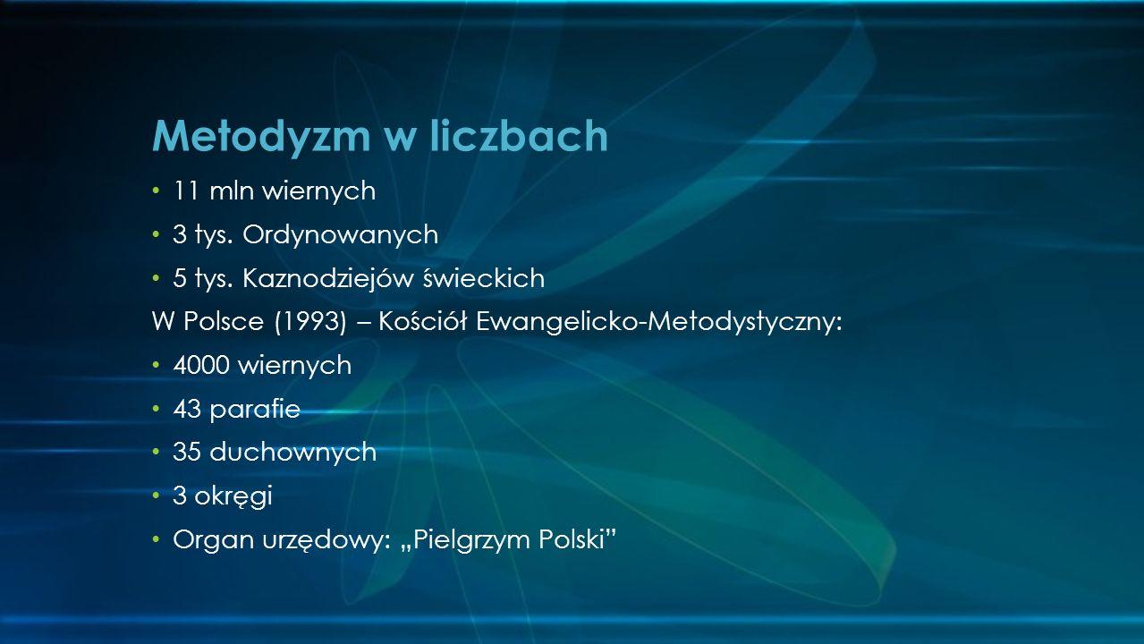11 mln wiernych 3 tys. Ordynowanych 5 tys. Kaznodziejów świeckich W Polsce (1993) – Kościół Ewangelicko-Metodystyczny: 4000 wiernych 43 parafie 35 duc
