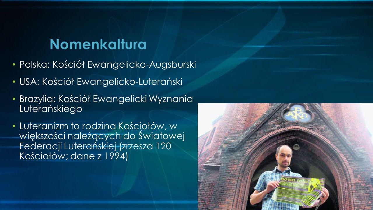 Polska: Kościół Ewangelicko-Augsburski USA: Kościół Ewangelicko-Luterański Brazylia: Kościół Ewangelicki Wyznania Luterańskiego Luteranizm to rodzina Kościołów, w większości należących do Światowej Federacji Luterańskiej (zrzesza 120 Kościołów; dane z 1994) Nomenkaltura