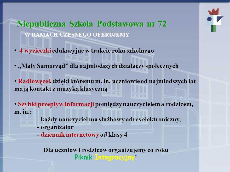 Niepubliczna Szkoła Podstawowa nr 72 W RAMACH CZESNEGO OFERUJEMY 4 wycieczki edukacyjne w trakcie roku szkolnego Mały Samorząd dla najmłodszych działaczy społecznych Radiowęzeł, dzięki któremu m.