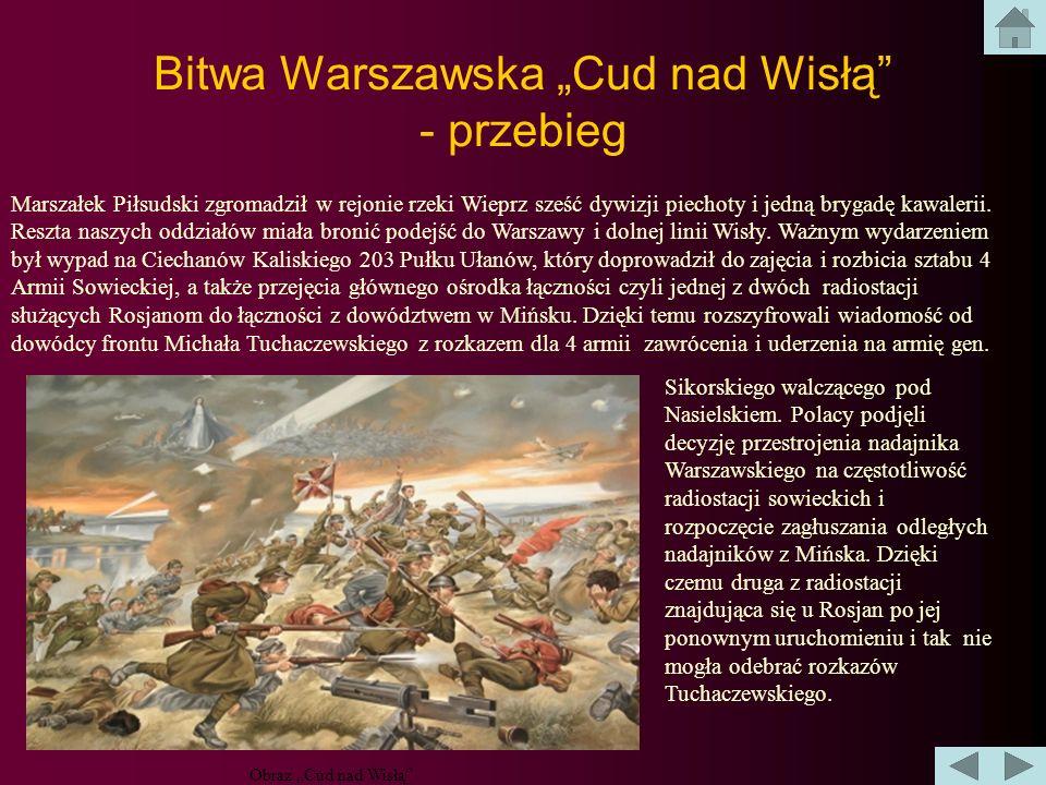 Bitwa Warszawska Cud nad Wisłą Bitwa, zwana Cudem nad Wisłą, rozegrała się niedaleko Warszawy w miejscowości Radzymin i była jedną z kluczowych starć