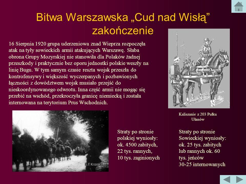 Bitwa Warszawska Cud nad Wisłą - przebieg Marszałek Piłsudski zgromadził w rejonie rzeki Wieprz sześć dywizji piechoty i jedną brygadę kawalerii. Resz