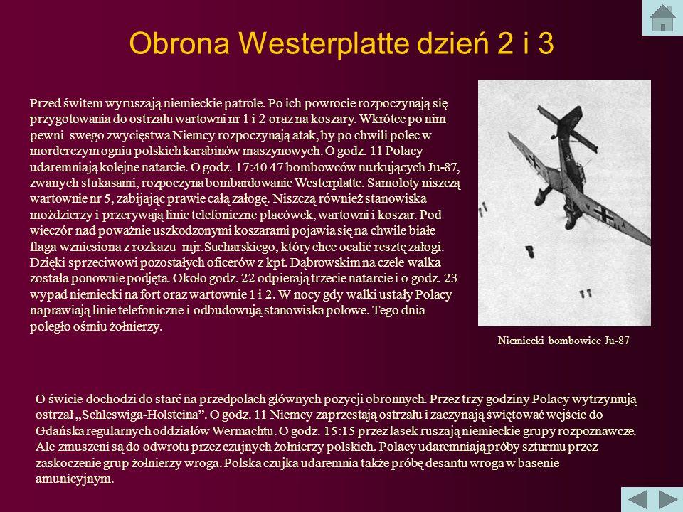 Obrona Westerplatte dzień 1 O godzinie 4.48 pancernik Shlezwig-Holstein rozpoczyna ostrzał Westerplatte. Pierwsze salwy stawiają na nogi wszystkich po