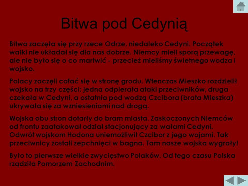 Bitwa pod Cedynią Po obu stronach stanęło po około 4000 wojów. Polskie wojska były ubrane w kolczugi złożone z wielu metalowych kulek. Bronią były str