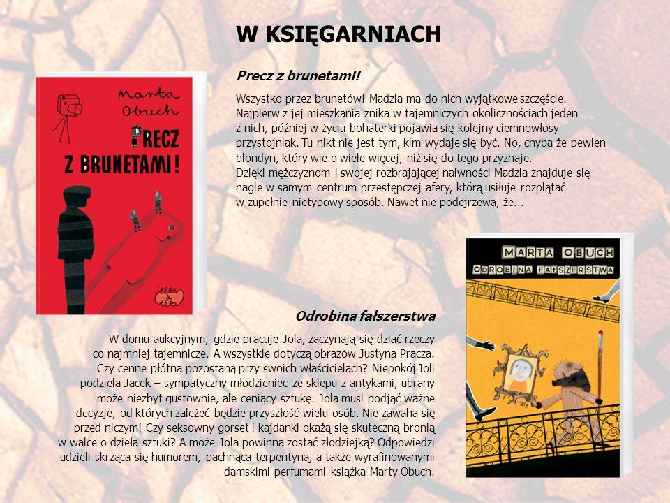 OPINIE Grzegorz Kozłowski, redaktor portalu wp.pl: (...)To jeden z tych kryminałów, w których wciągnięci w przestępczą bądź co bądź intrygę bohaterowie tryskają bez przerwy humorem, nie są przerażeni, angażują się w ciemną sprawę, podążając bez oporu za różnymi pomysłami autorki.
